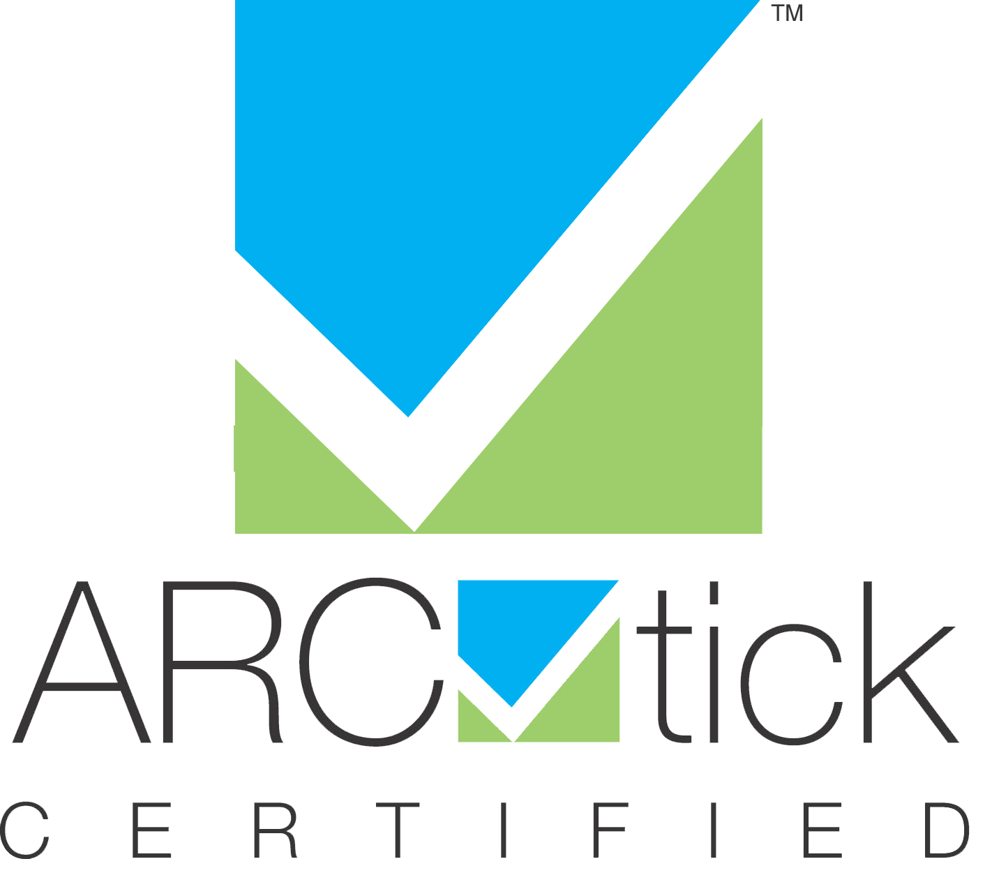 ARC tick certified badge with transparent background