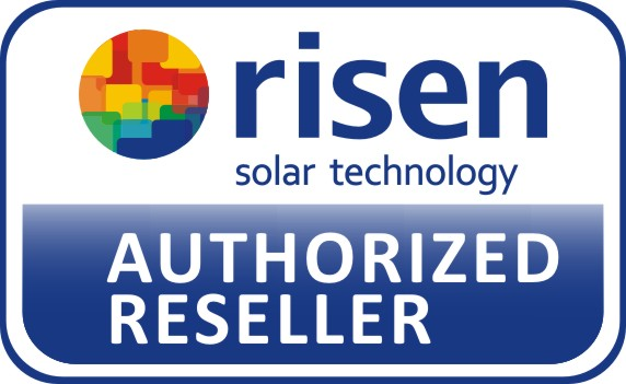 risen solar technologu Authorised Reseller badge with white background